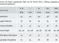 Tabela rozmiarów dla koszul wyjściowych R.E.I.S.