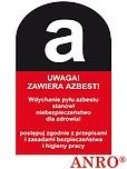 ZNAK BHP UWAGA! ZAWIERA AZBEST ZZ-131CH...