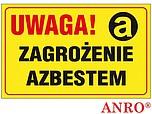 ZNAK BHP UWAGA! ZAGROŻENIE AZBESTEM...