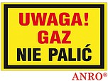ZNAK BHP UWAGA GAZ NIE PALIĆ ZZ-19G...