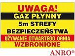 ZNAK BHP UWAGA! GAZ PŁYNNY 5M STREFY...