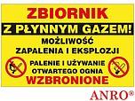 ZNAK BHP ZBIORNIK Z PŁYNNYM GAZEM...