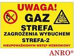 ZNAK BHP UWAGA! GAZ STREFA ZAGROŻENIA...