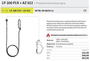 LINA POZIOMA KOTWICZĄCA PROTEKT LP200FLR + ZATRZAŚNIK AZ022 10m 20m 5m EN 358 P.4.1.5 TRUDNOPALNE
